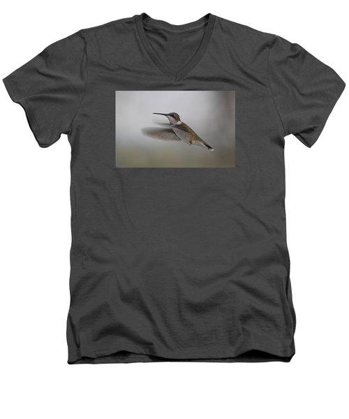 Men's V-Neck T-Shirt featuring the photograph Hummingbird  by Leticia Latocki