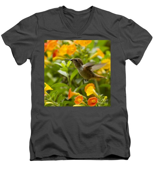 Hummingbird Looking For Food Men's V-Neck T-Shirt by Heiko Koehrer-Wagner