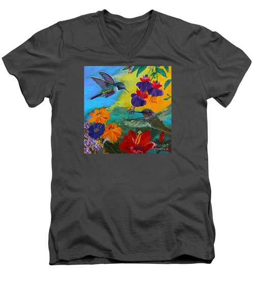 Hummingbirds Prayer Warriors Men's V-Neck T-Shirt by Robin Maria Pedrero