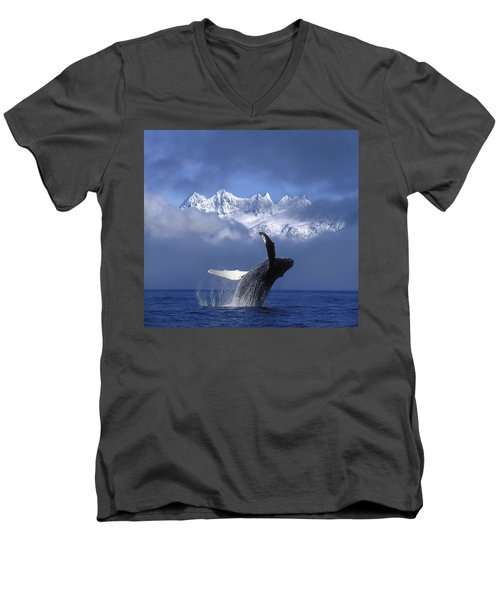 Humpback Whale Breaches In Clearing Fog Men's V-Neck T-Shirt