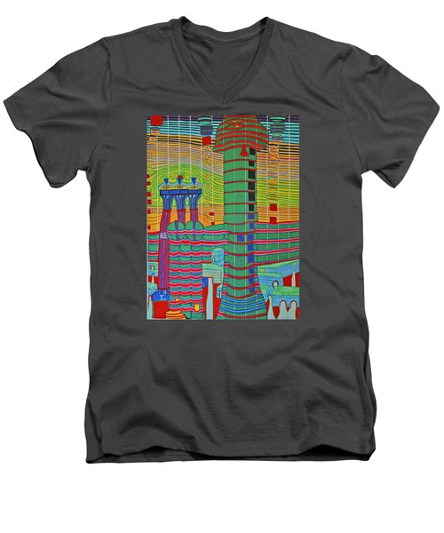 Hundertwasser Das Ende Griechenlands In 3d By J.j.b. Men's V-Neck T-Shirt