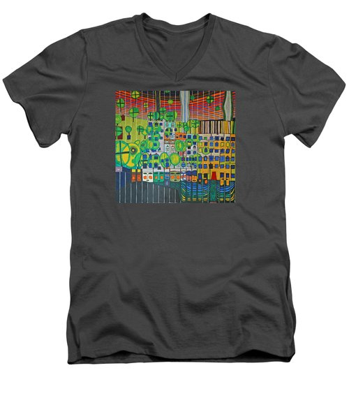 Hundertwasser The Three Skins In 3d By J.j.b. Men's V-Neck T-Shirt