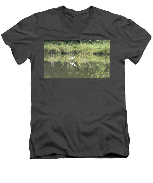 Hunter Reflected 1 Men's V-Neck T-Shirt by Mark Minier