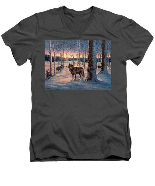 Hunters At Twilight Men's V-Neck T-Shirt
