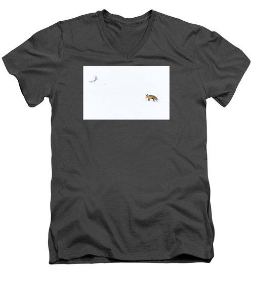 Men's V-Neck T-Shirt featuring the photograph Hunting In White by Yeates Photography