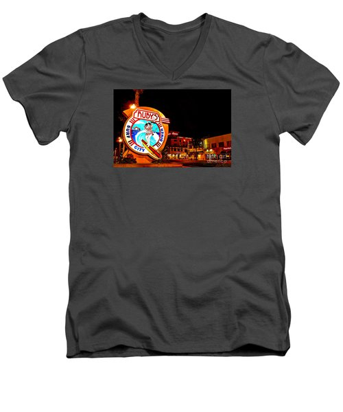 Huntington Beach Downtown Nightside 2 Men's V-Neck T-Shirt by Jim Carrell