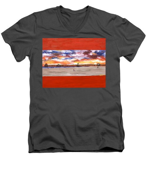 Huntington Beach Pier 3 Men's V-Neck T-Shirt