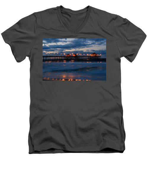 Huntington Beach Pier Lights  Men's V-Neck T-Shirt by Duncan Selby