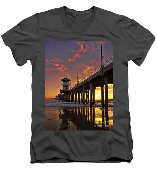 Huntington Beach Pier Men's V-Neck T-Shirt by Peggy Hughes
