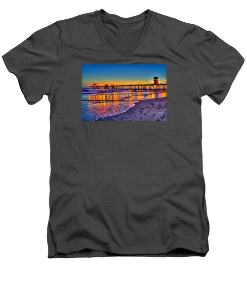 Huntington Beach Pier Sundown Men's V-Neck T-Shirt by Jim Carrell