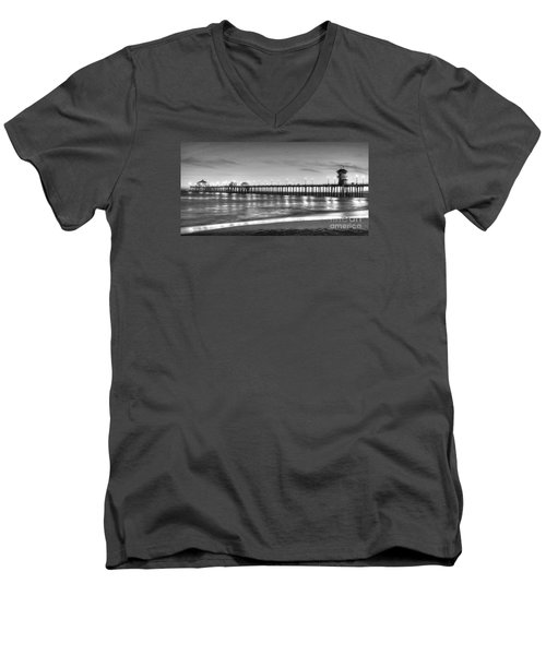 Huntington Beach Pier Twilight - Black And White Men's V-Neck T-Shirt