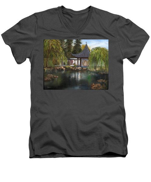 Huntington Chinese Gardens Men's V-Neck T-Shirt by LaVonne Hand