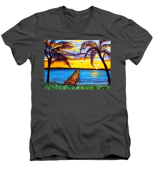 Men's V-Neck T-Shirt featuring the painting Hurry Sundown by Ecinja Art Works