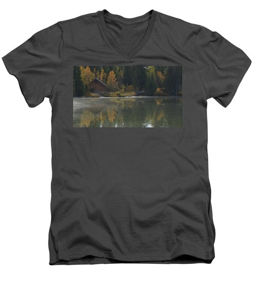 Hut By The Lake Men's V-Neck T-Shirt by Cheryl Miller