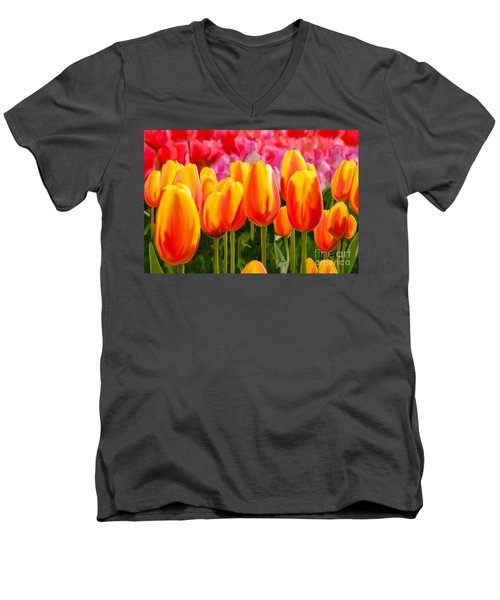 Men's V-Neck T-Shirt featuring the painting Hybrid Tulips by Tim Gilliland