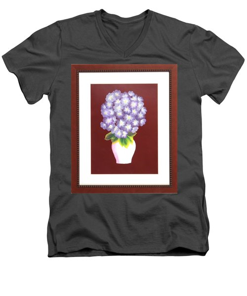 Men's V-Neck T-Shirt featuring the painting Hydrangea by Ron Davidson