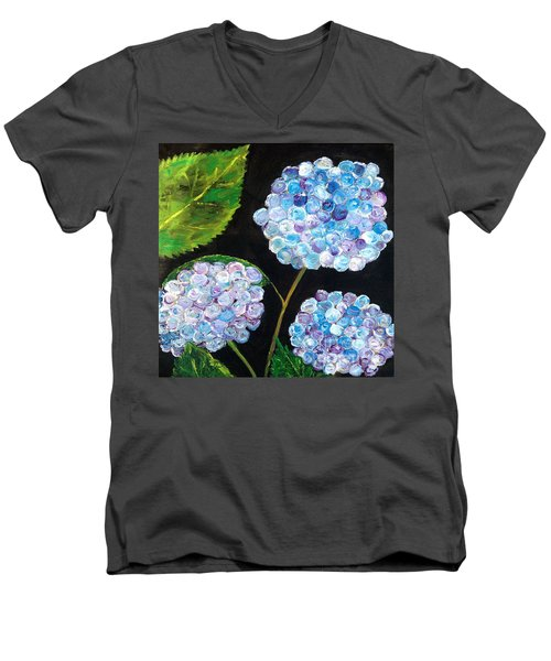 Men's V-Neck T-Shirt featuring the painting Hydrangeas  by Reina Resto
