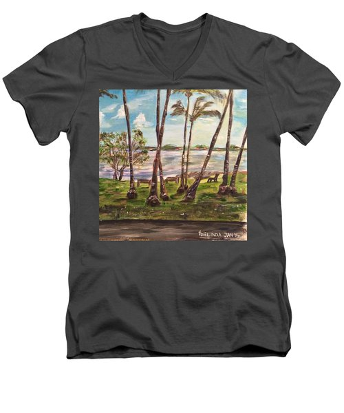 Men's V-Neck T-Shirt featuring the painting I Am Always With You by Belinda Low