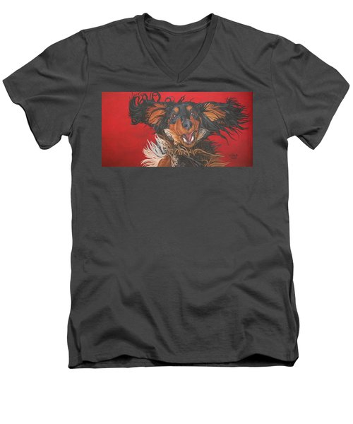 Men's V-Neck T-Shirt featuring the painting I Am Sooooooo Happy To See You by Wendy Shoults