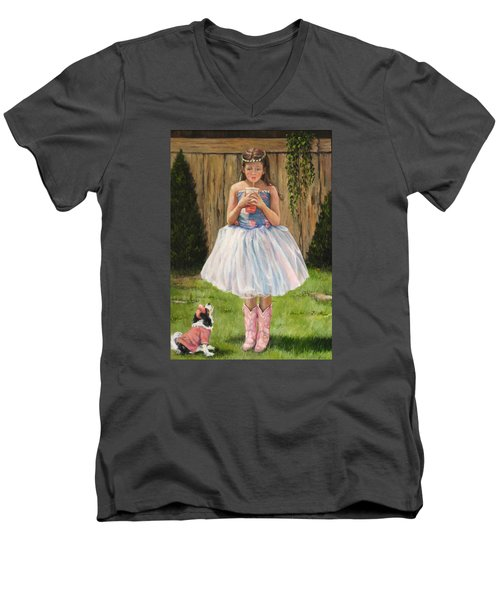 Men's V-Neck T-Shirt featuring the painting I Dressed Myself by Donna Tucker