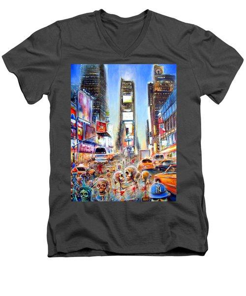 Men's V-Neck T-Shirt featuring the painting I Heart Ny by Heather Calderon