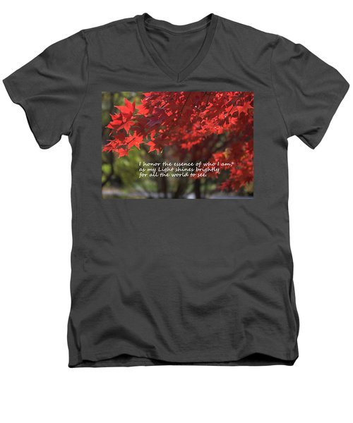 Men's V-Neck T-Shirt featuring the photograph I Honor The Essence Of Who I Am by Patrice Zinck
