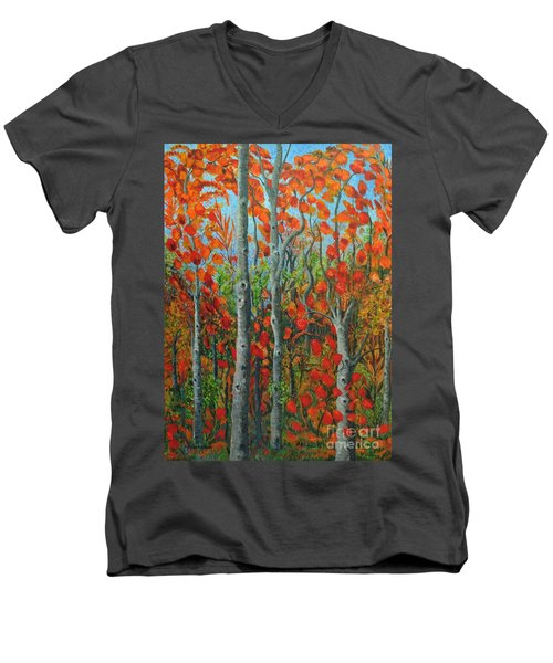 I Love Fall Men's V-Neck T-Shirt by Holly Carmichael