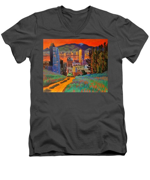 Men's V-Neck T-Shirt featuring the painting I Love New York City Jazz by Art James West
