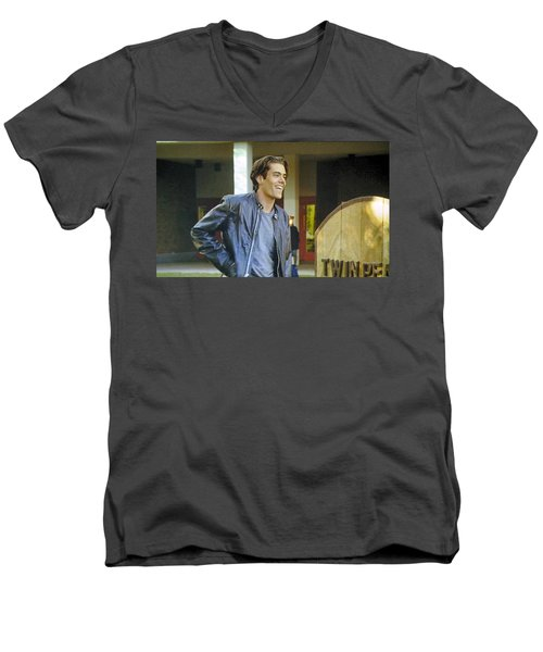 Men's V-Neck T-Shirt featuring the painting I Love You Babe by Luis Ludzska