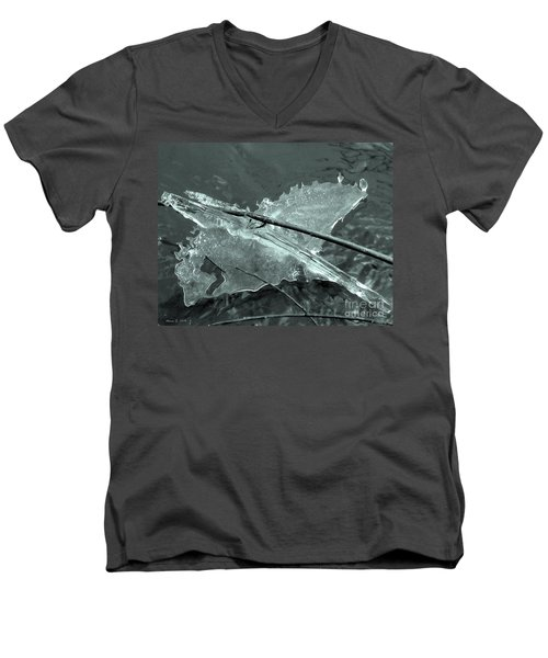 Men's V-Neck T-Shirt featuring the photograph Ice-bird On The River by Nina Silver