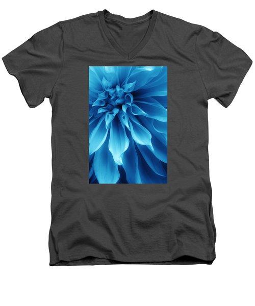 Ice Blue Dahlia Men's V-Neck T-Shirt