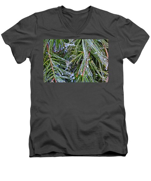 Ice On Pine Needles  Men's V-Neck T-Shirt