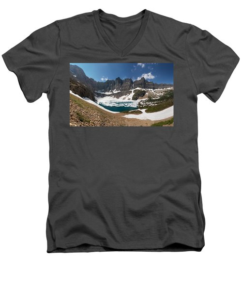 Men's V-Neck T-Shirt featuring the photograph Iceberg Lake by Aaron Aldrich