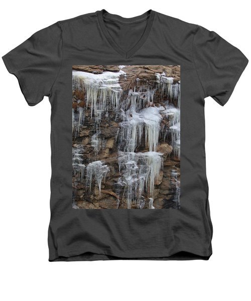 Men's V-Neck T-Shirt featuring the photograph Icicle Cliffs by Shane Bechler