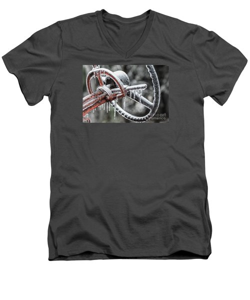 Men's V-Neck T-Shirt featuring the photograph Icy Allis- Chalmers Tractor by Debbie Green