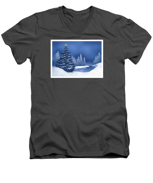 Men's V-Neck T-Shirt featuring the digital art Icy Blue by Scott Ross