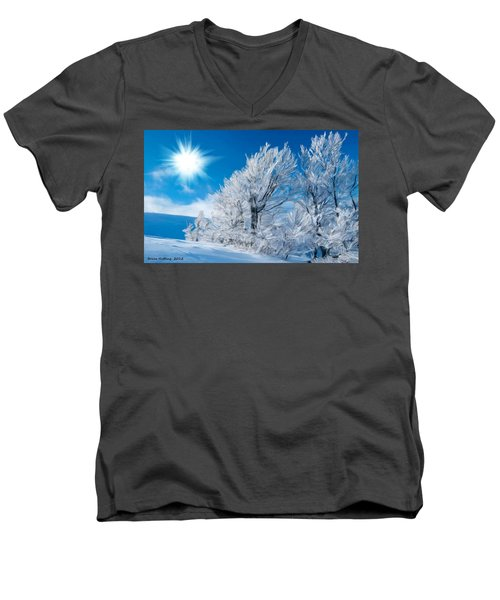 Icy Trees Men's V-Neck T-Shirt by Bruce Nutting