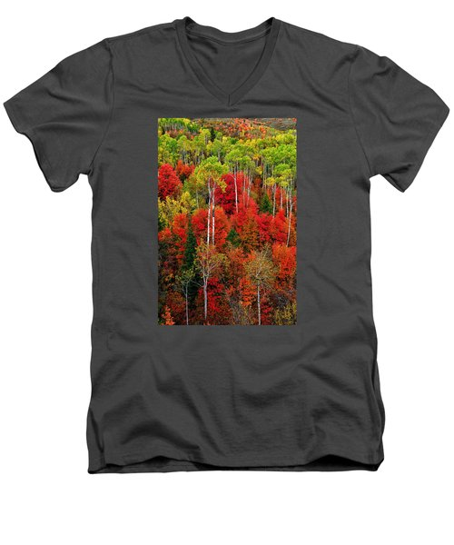 Idaho Autumn Men's V-Neck T-Shirt by Greg Norrell