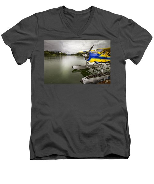Idle Float Plane At Juneau Airport Men's V-Neck T-Shirt by Darcy Michaelchuk