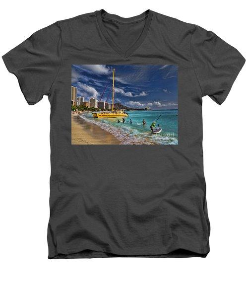 Idyllic Waikiki Beach Men's V-Neck T-Shirt by David Smith