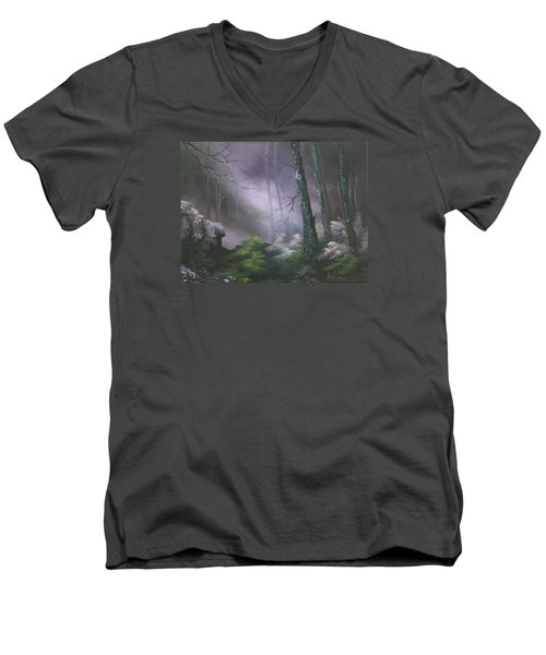 If You Go Down In The Woods Today ? Men's V-Neck T-Shirt by Jean Walker