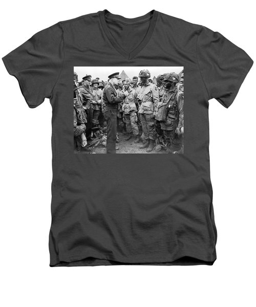 Ike With D-day Paratroopers Men's V-Neck T-Shirt