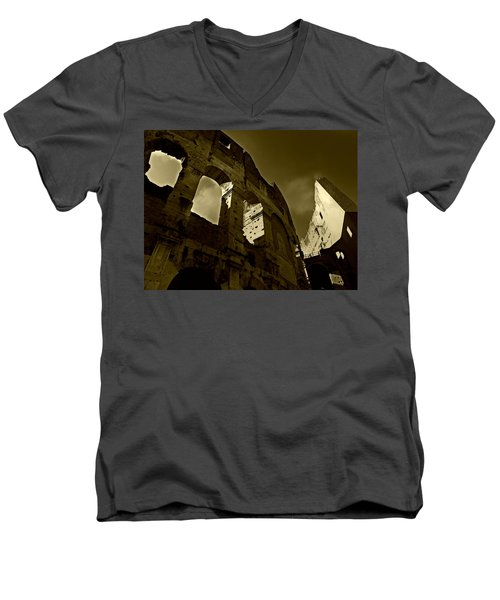 Men's V-Neck T-Shirt featuring the photograph Il Colosseo by Micki Findlay