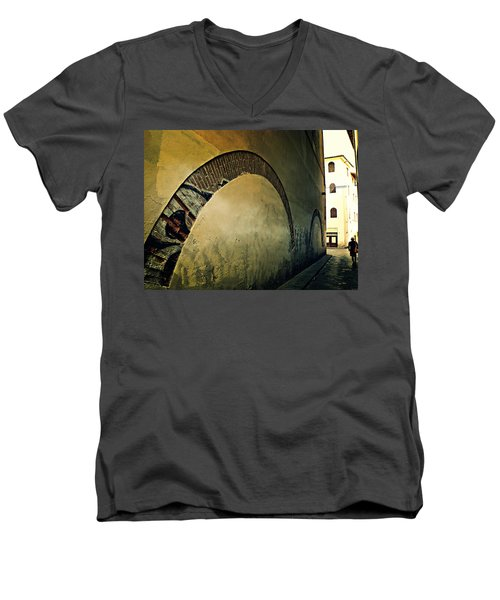 Men's V-Neck T-Shirt featuring the photograph Il Muro  by Micki Findlay