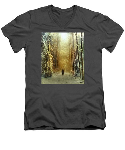 Men's V-Neck T-Shirt featuring the painting I'll Be Home For Christmas by Dragica  Micki Fortuna