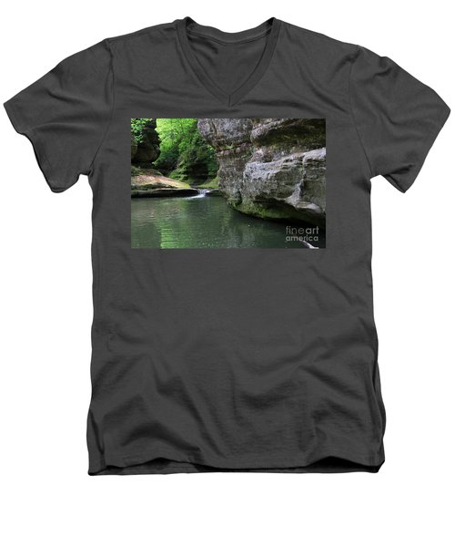 Men's V-Neck T-Shirt featuring the photograph Illinois Canyon May 2014 by Paula Guttilla