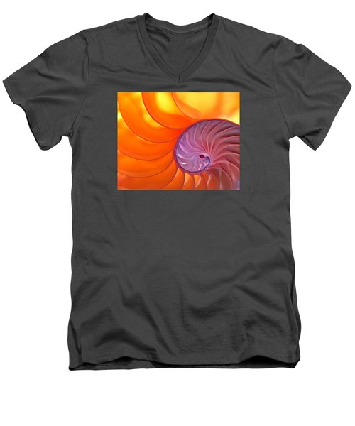 Illuminated Translucent Nautilus Shell With Spiral Men's V-Neck T-Shirt by Phil Cardamone