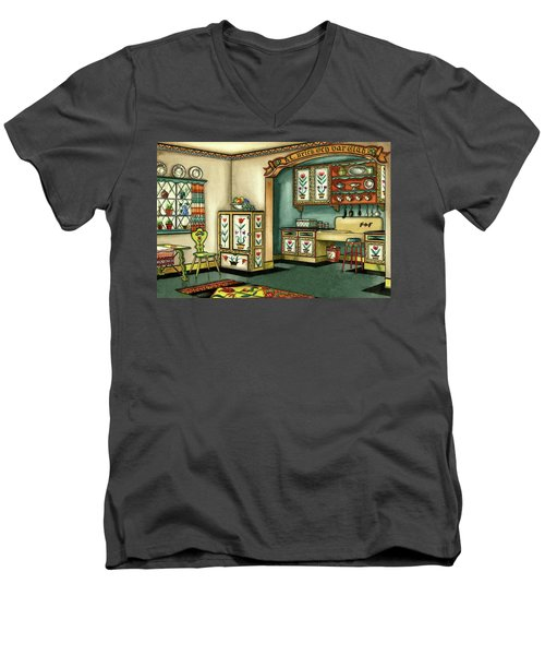 Illustration Of A Colorful Swedish Kitchen Men's V-Neck T-Shirt