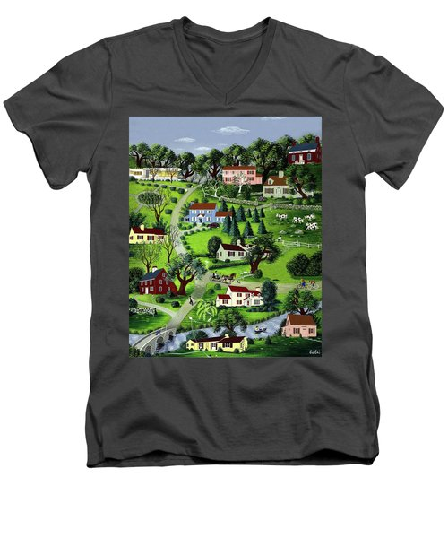 Illustration Of A Village Men's V-Neck T-Shirt