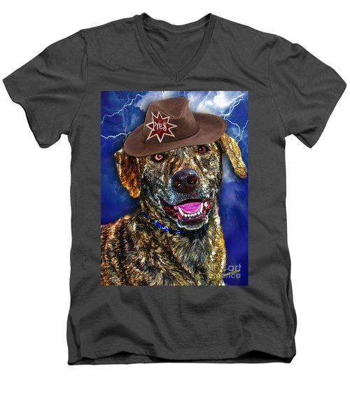 Men's V-Neck T-Shirt featuring the digital art I'm A Canine Community Reporter by Kathy Tarochione